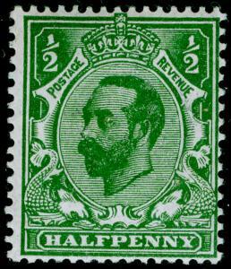 SG323, ½d bluish green, DIE A, LH MINT. Cat £300. RPS CERT.