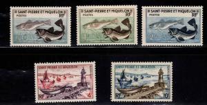 St. Pierre and Miquelon #351-355 MNH CV$7.05 Codfish/Ship/Lighthouse [80623]