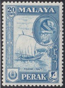 Malaya Perak 1957-61 MH Sc #133 20c Fishing craft, Sultan Yussuf Izuddin Shah
