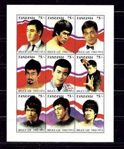 Tanzania 810 MNH 1992 Bruce Lee sheet of 9