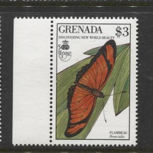 Grenada-Scott 1816 - Butterfly Issue-1990- MNH - Single $3.00c Stamp