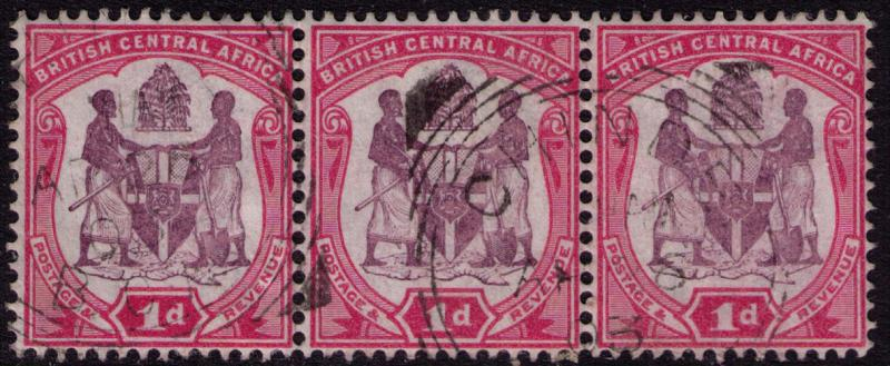 British Central Africa #  44  Used VF strip of 3 Cat $ 2.40
