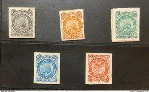 L) 1869 BOLIVIA, 100C, ORANGE, NATURE, STAR, EAGLE, SHIELD, BLUE, 50C, RED, 10C