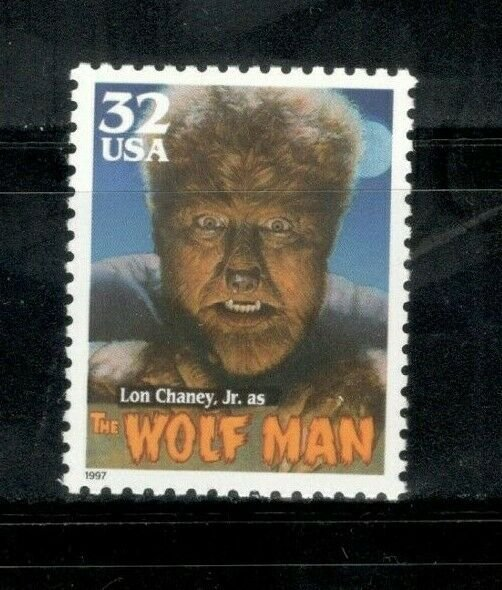 3172 Lon Chaney Jr. (The Wolf Man) Single Stamp Mint/nh FREE SHIPPING