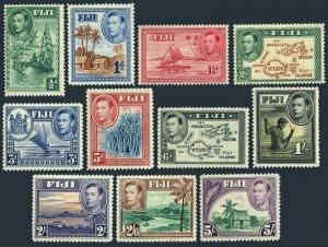 Fiji 117/131,11 stamps,hinged.Mi 92-98,100,103,106-108. King George VI,Views.