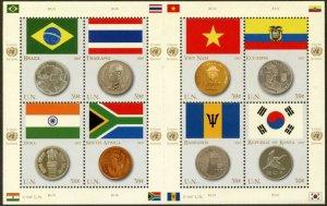 UNITED NATIONS Sc# NY 930 Geneva 469 Vienna 392 2007 Flags & Coins Sheets MNH