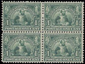#328 1c Jamestown Exposition Captain John Smith Block of 4 1907 P.S.E. Cert