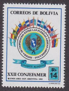 Bolivia # 671, Air Forces of Americas Conference, Flags, NH, 1/2 Cat.