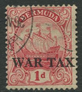 Bermuda -Scott MR1 - War Tax Issue - 1918 -FU -Single 1p Stamp