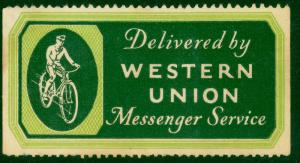 USA c1920s WESTERN UNION MESSENGER SERVICE Label w BICYCLE Unused NG