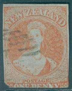 NEW ZEALAND : 1855. Stanley Gibbons #4 Blued paper. Small faults. Cat £2,000.00.