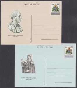 San Marino, mint, 1981 150L & 200L Postal Cards, fresh & VF