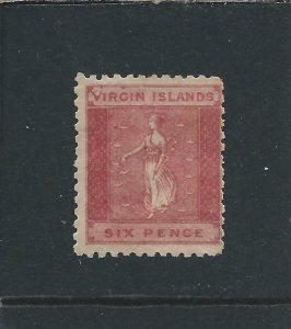 BRITISH VIRGIN IS 1866 6d DEEP ROSE-RED ON TONED PAPER LARGE 'V' IN VIRGIN MM