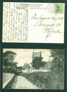 Denmark. Postcard. 1917. Melby Church. 5  Ore. Addressed: Copenhagen