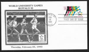 UNITED STATES FDC 29¢ World University Games 1993 Cacheted