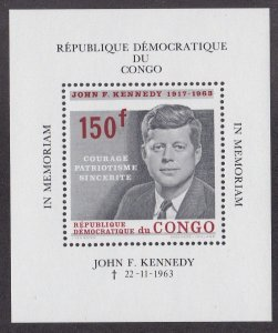 Congo Dem.  Rep.# 520, John F. Kennedy Memorial, Souvenir Sheet, NH, 1/2 Cat.