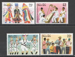 F0030 BELIZE CULTURE MUSIC DANCE CHRISTMAS 1993 #1116-19 MICHEL 8,5 EURO SET MNH