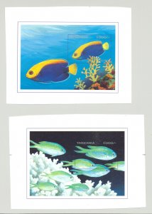 Tanzania #1494-1495 Fish 2v S/S Imperf Chromalin Proofs