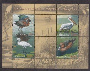 Moldova # 725, Birds, Souvenir Sheet, NH, 1/2 Cat.