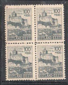 Estonia Sc NB6 1941 100 + 100 Narva Castle stamp block of 4  mint NH