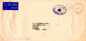 Norfolk Islands Official Free Mail 1968 Norfolk, Island Airmail to Chicago, I...