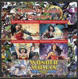 MADAGASCAR 2021 COMIC BOOK HEROES WONDER WOMAN IMPERFORATE SHEET MINT NH