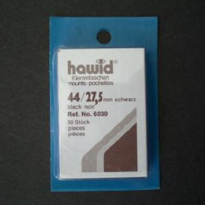 Hawid Stamp Mounts Size 44/27.5 BLACK Pack of 50