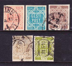 ESTONIA  1918-19  SET 5 IMPERF  FU  SG 1/4