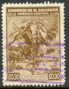 EL SALVADOR 1940 30c COFFEE TREE AND BERRIES Airmail Sc C76 VFU