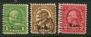 1929 issue #658, 659, 660 KANS OVPTS