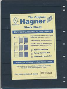 25 HAGNER 7 POCKET BLACK STOCK SHEETS 5 PACKAGES OF 5 - SINGLE SIDED