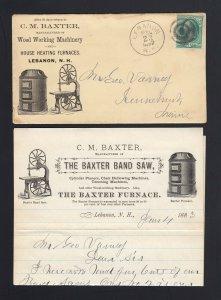 NEW HAMPSHIRE: Lebanon, NH 1882 BAXTER BAND SAW/ FURNACES Advertising