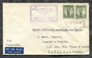 p175 - AUSTRALIA 1949 First Flight Cover to Vancouver CANADA. 2x 1/- Lyre Bird