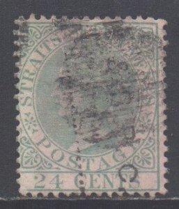 Straits Setts Scott 15 - SG16, 1867 Crown CC 24c used