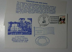 C & O Canal Great Falls Tavern TRIPEX Cumberland MD 1977 Philatelic Cachet Cover