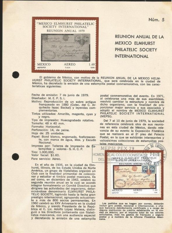 L) 1979 MEXICO, MEXICO ELMHURST PHILATELIC SOCIETY INTERNATIONAL, CURRENT MEETIN