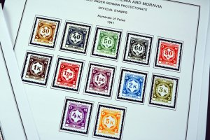 COLOR PRINTED BOHEMIA & MORAVIA 1939-1944 STAMP ALBUM PAGES (12 illustr. pages)