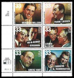US #3345/3350 PB $1.94(6x33c)Broadway Songwriters MNH, (PCB-3)