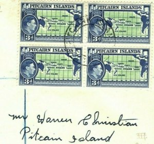 PITCAIRN ISLANDS KGVI FDC 3d MAP Block{4} 1940 Registered First Day Cover PB315