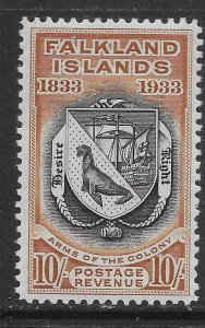FALKLAND ISLANDS SG137 1933 CENTENARY 10/= BLACK & CHESTNUT MTD MINT