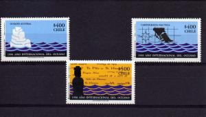 Chile 1998 YEAR OF THE OCEAN set (3) Perforated Mint (NH)