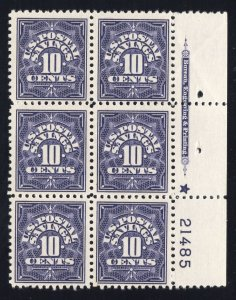 US #PS6 - Postal Savings Stamps - Plate# Blk. of 6 - MINT - O.G. - N.H.