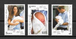 SAMOA MNH VERY NICE SET SC#1156-1158 BIRTH OF PRINCE GEORGE SCV$13.50 VERY NICE