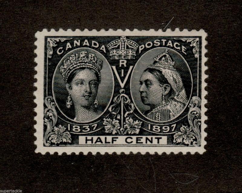 1897 Canada 50 F VF Black 1 2 Cent Jubilee Gum Thin