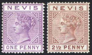 Nevis 1879 1d - 2 1/2d WMK Crown CC SG 23-24 Scott 19-20 LMM/MLH Cat £220($286)