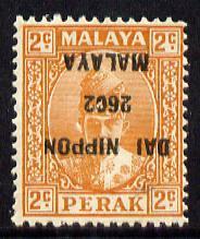 Malaya - Japanese Occupation Perak 1942-44 2c orange with...