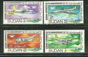 Sudan MNH 218-21 20th Anniversary Sudan Airways