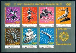 [96052] Yemen YAR 1971 Olympic Games Munich Gymnastics Rowing Imperf. Sheet MNH