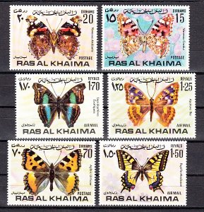 Ras al Khaima, Mi cat. 614-619 A. Butterflies issue. ^