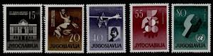 Yugoslavia 585-9 MNH National Theater, Aircraft, Atom & UN Emblem